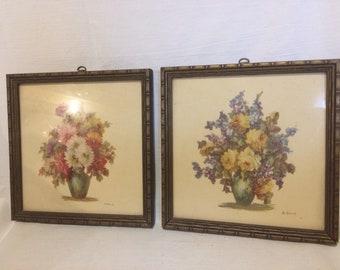 2 Vintage Floral Prints by M Black