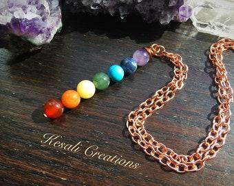 Short Rainbow Chakra Necklace, Large Rainbow Chakra Pendant, Chakra Gemstone Necklace, Rainbow Gemstone Necklace