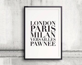 Parks and Rec, Parks and Recreation Poster, Pawnee, List of Cities, Quote, Digital Typography Poster