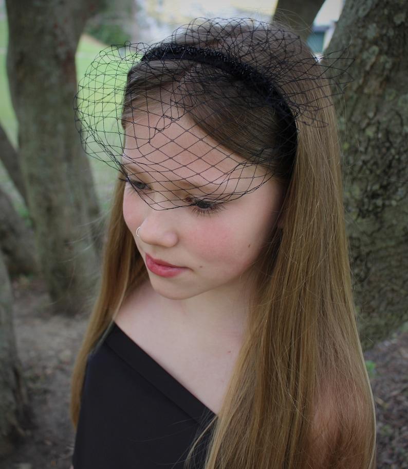 Black Fascinator Birdcage Veil Headband Funeral Gothic Bride Masquerade Ball