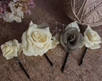 Yellow rose hair pin,Set 4 hair pin,Rose Bridal Hair Pins,Pastel yellow Roses Hairpins,Small flower rose hair bobby pin,Bridesmaid Hair Pins