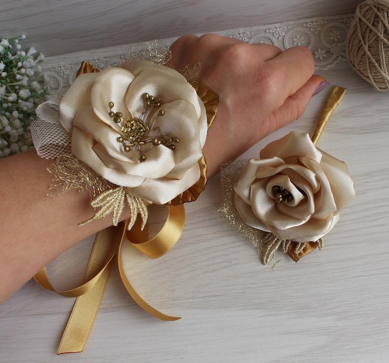 Ivory and Gold Corsage and Boutonni\u00e8re Set