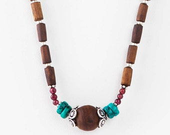 Ladakh Necklace with Garnet and Turquoise.