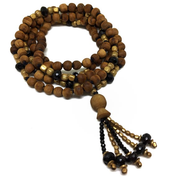 Sadhu Mala 108 Tulasi  Tulsi beads with Radhe Guru and tassel