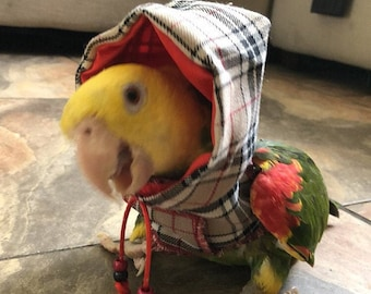 Pet bird parrot Hoodie - Country Check tartan - all sizes available - Petite to Large