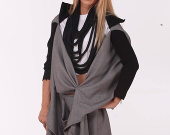 Woman Assymetrical Costume / Paradox / New Collection / Gray Extravagant Costume / Low Waist Pants / Long Sleeves Cardigan PS0