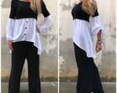 Cold Shoulder Tunic Paradox Off Shoulder Blouse Design Long Sleeve Top Oversize Tunic Black Shirt PB0504