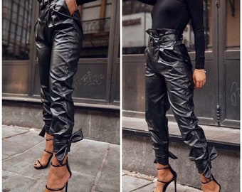 61c845171 Black Leather Pants   Paradox   Women Pants   Latex Pants   Black Trousers    Loose Pants   Biker Pants   Leather Trousers PP0559