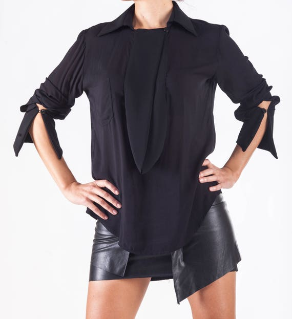 Black Top Paradox Shirt Size Paradox Asymmetrical Shirt Sexy Top Minimalist PB0052 Top Black Wrap Shirt Elegant Shirt Plus vWqSSH85