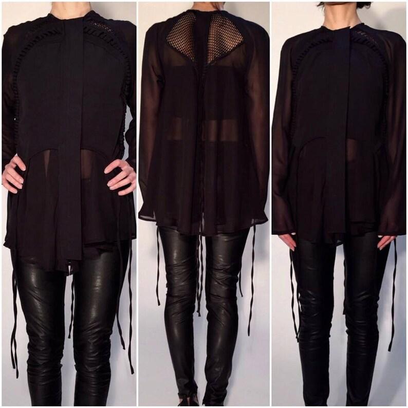 Black Top  Paradox  Long Top  Mesh Top  Black Shirt  Long Sleeve Shirt  Sheer Top  Sophisticated Top  Elegant Shirt PB0050