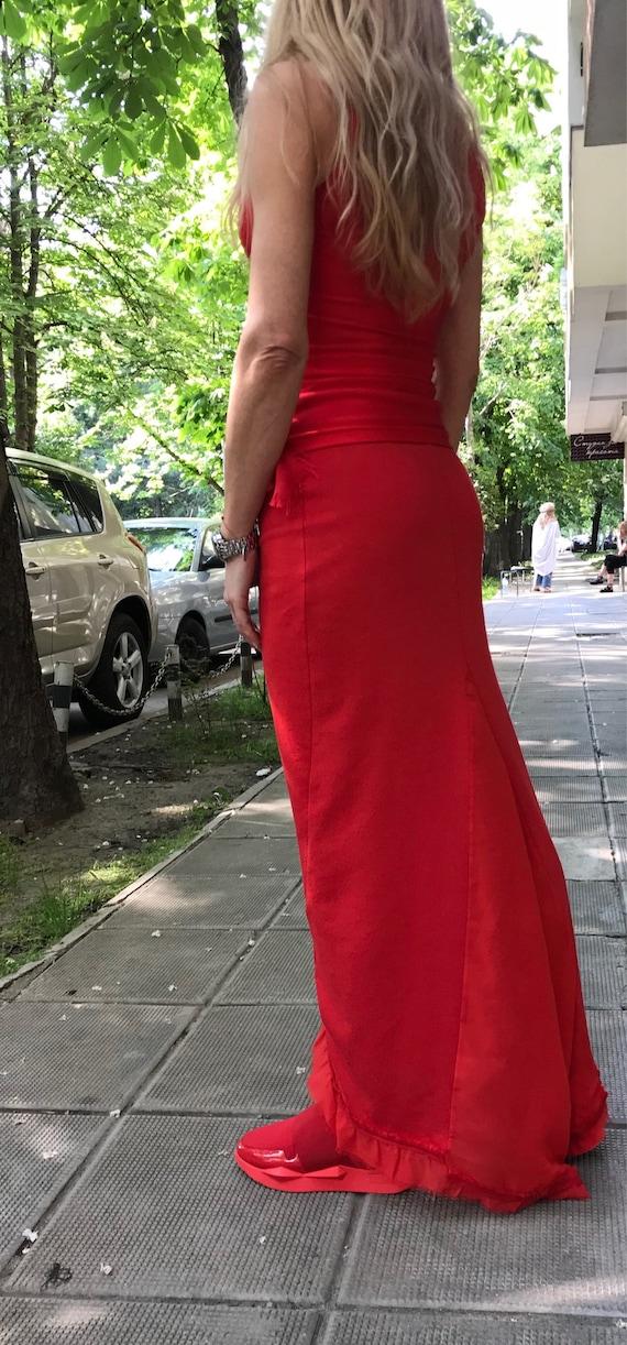 PS0411 Length Skirt Paradox Skirt Top and Red Skirt Top New Full Skirt Top Set Tank Women's Maxi Casual q4SBTcx