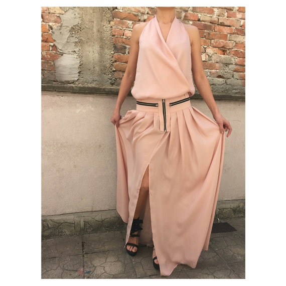 PP0121 Loose Skirt Paradox Top Fashion Slit set Top Suit Tank Top Flared Skirt Halter Party Sleeveless Top Skirt ETCHq