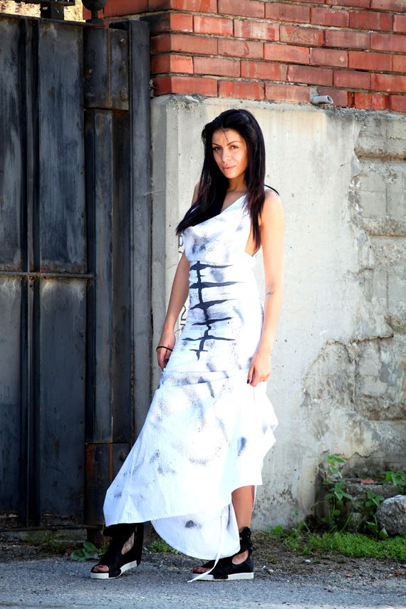 Long Dress Racer Dress Fitted Dress Back Mermaid Women's Dress White Hand PD0331 Painted Clothing Paradox Dress Dress wRPqYzA