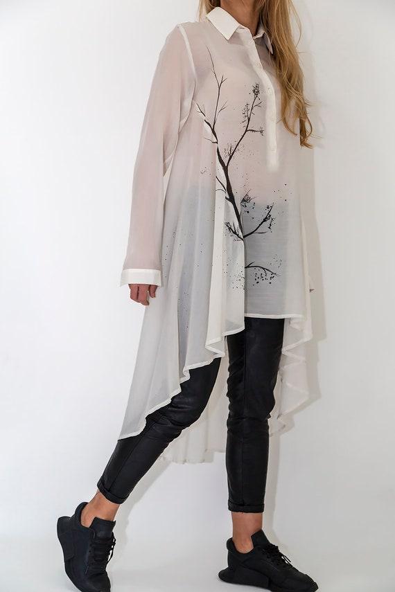 White Shirt Shirt Long Lace New Tunic tunic Sleeve Tunic Long Asymmetric Top PB0001 White Top Shirt Long Paradox 8Bqw51HwZ
