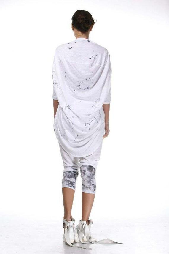 Blouse Set Size Paradox Asymmetric Art Short Draped Cotton Extravagant Set Set Plus Tunic Pants Tunic PS0173 Sleeve ZZ8wBU1