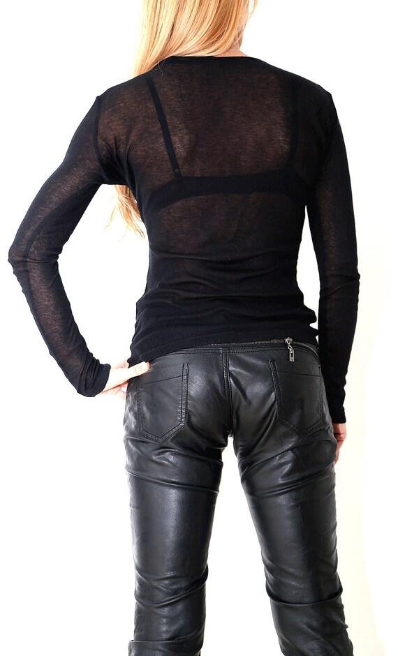 Sleeves Evening Sexy Top PB0380 Sheer Shirt Blouse Long Tunic Bottom New Blouse Blouse Paradox Sheer Cotton Black TqBI4xz7w0