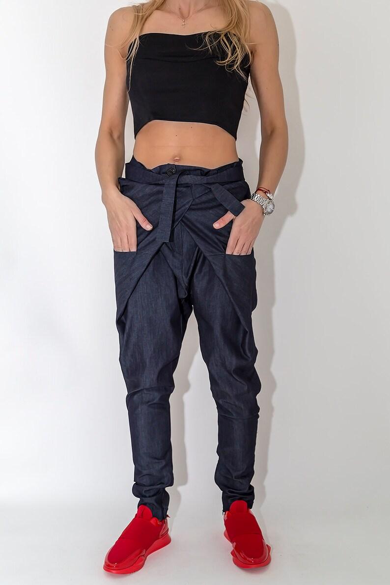 83b5a9d109 Denim Pants / Paradox / Belted Pants / Asymmetric Pants / | Etsy