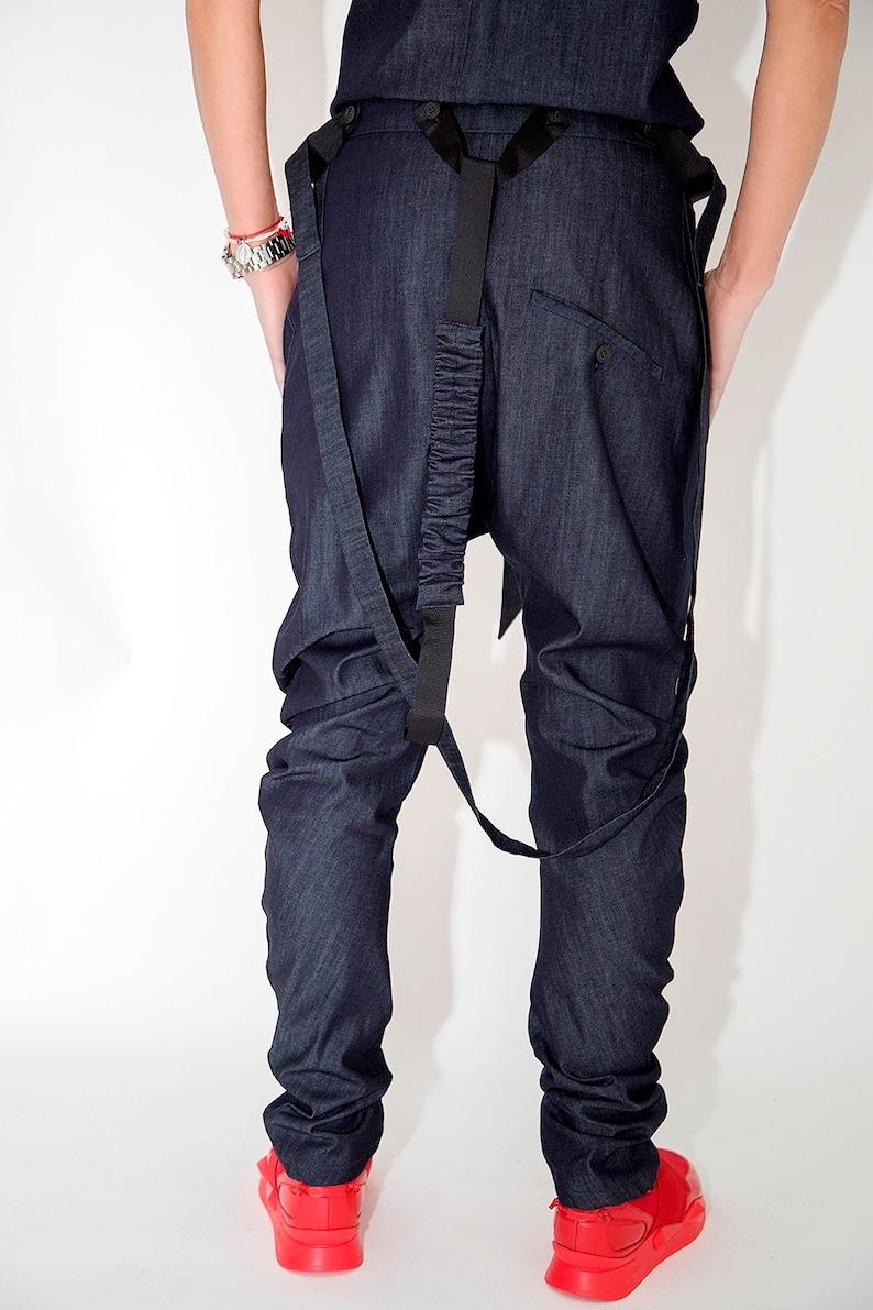 Women Pants  Paradox  Baggy Denim Pants  Crotch Harem Pants  Suspenders Pants   Boho Pants  Punk Pants  Jeans  PP0035