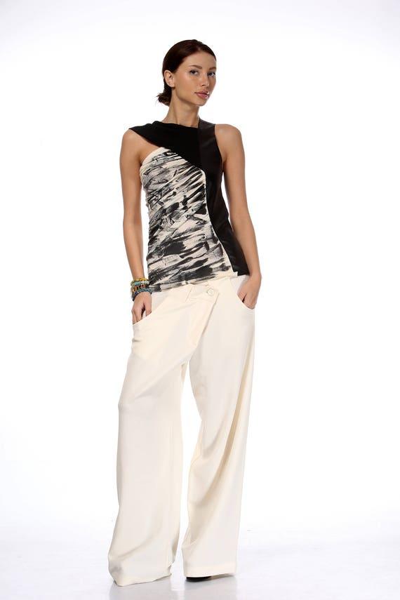 Hippie Pants Baggy Pocket High Paradox Waist White Pants NewWomen Pants Pants Trousers White Pants PP0348 x8qY0Bnwv