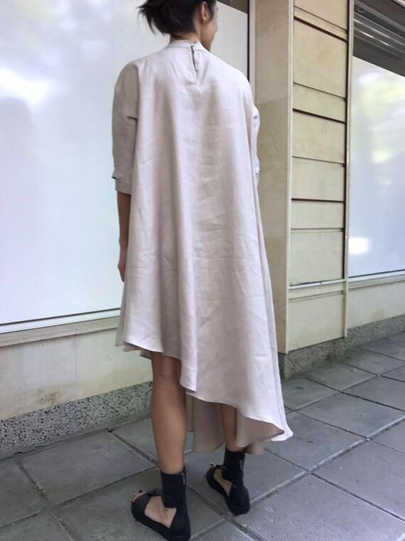 Slit Dress Dress Dress Linen Size Belt Caftan Casual PD0247 Dress Dress Oversize Plus Dress Paradox Asymmetric Belt WqvwnYPBW
