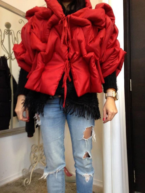 Beige Cape Jacket Cape Paradox Jacket Oversize Jacket Jacket Red Short Bomber PC0024 Short Jacket Drape Jacket Jacket qA7Bw
