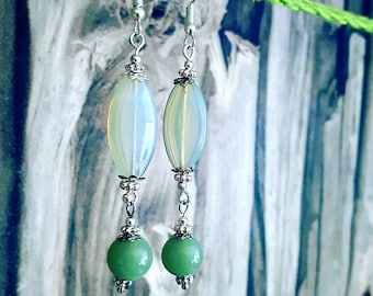 Earrings Silver Moon Stone and Jade