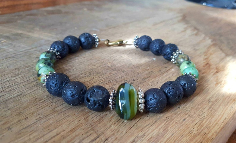 Limited edition mala bracelet men yoga bracelet energy and strength lava and african turquoise