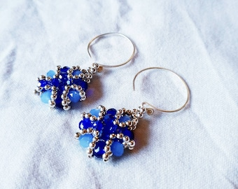 Classic earrings cobalt and sky blue with sterling silver designer ear hooks.