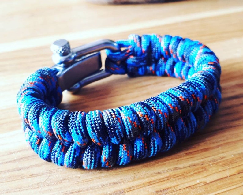 Paracord bracelet Colonial Blue neon orange and charcoal grey