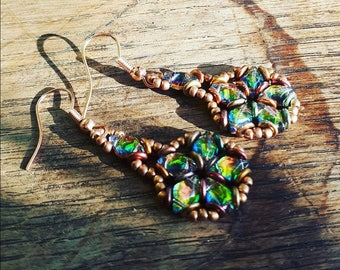 Hybrid Metallic Flame and blacklit Utopia Earrings