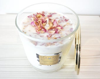 Clear Glass Gold Lid Soy Candle Scented Rose Petals