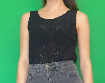 Vintage 90s Black Lace See Through Sheer Tank Top