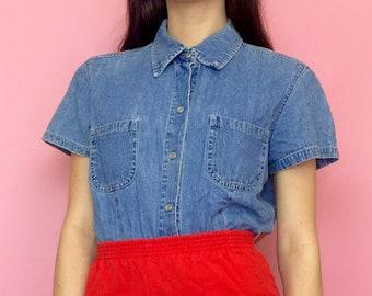 Vintage 90s Blue Jean Short Sleeve Collared Button Down Denim Shirt