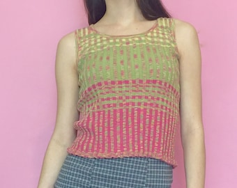 Vintage 90s Y2k 2000s Pink and Green Ribbed and Striped Tank Top Crop Top