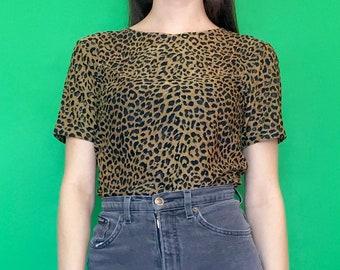 Vintage 90s Brown and Black Cheetah Print Leopard Print Short Sleeve T-Shirt