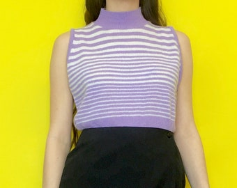 Vintage 80s 90s Purple and White Striped Sleeve Mock Turtle Neck Tank Top