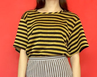 Vintage 80s 90s Black and Gold Striped Oversized Short Sleeve T-Shirt