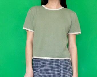 Vintage 90s Y2k 2000s Mint Green Oversized Short Sleeve Crop Top Sweater Tee T-Shirt