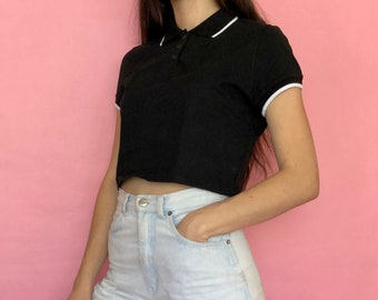 f9f0102f40 Vintage 90s Black and White Minimal Collared Short Sleeve Polo Crop Top