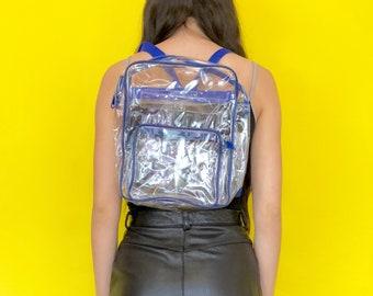 dd2851e8e9 Vintage 90s Blue and Clear PVC Plastic Mini Backpack
