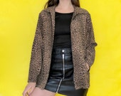Vintage 90s Brown Leopard Cheetah Print Collared Zipper Jacket