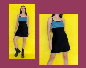 004eaedfbd Vintage 90s Blue and Black Striped Spaghetti Strap Mini Dress