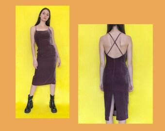 667a373d5ba1 Vintage 90s Y2k 2000s Purple Velvet Spaghetti Strap Midi Dress