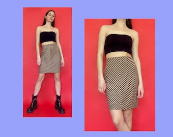 Vintage 90s Y2k 2000s Brown High Waisted Striped Pencil Column Skirt