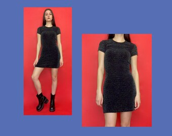 Vintage 90s Black and Silver Sparkly Short Sleeve Stretchy Mini Dress