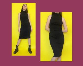 Vintage 90s Minimal Black Ribbed Sleeveless Mock Turtle Neck and Column Skirt Set