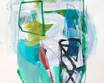 """Large Abstract Painting on Paper, Original Art, """"Pool Day"""", 18″ x 24″, acrylic, watercolor crayon and charcoal on paper."""