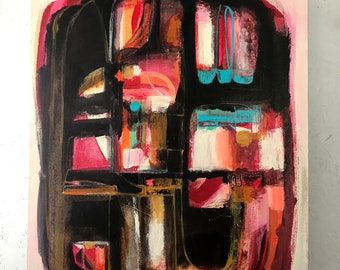 """Abstract Original Pink Acrylic Painting on Canvas, """"Pink Fizz"""", 24″ x 30″, on canvas."""