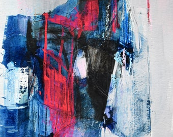 """Original abstract painting on 9"""" x 12"""" paper: """"Day 18 Quarantine Art"""""""