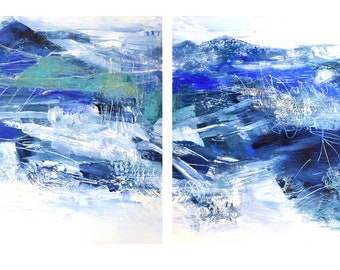 """Original diptych on paper, Mountain Adventure I & II  2020, (2) 11"""" x 15"""", acrylic on paper"""